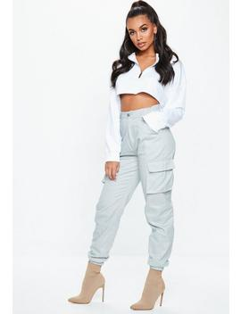 Grey Plain Cargo Trousers by Missguided