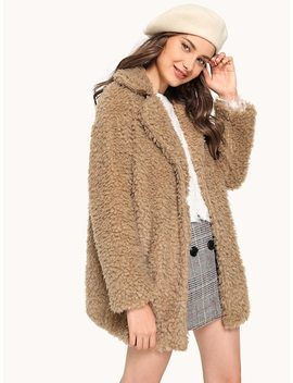 Notched Neck Lambswool Teddy Coat by Shein