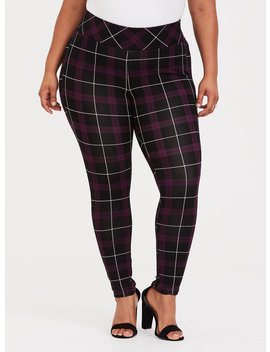 Purple Plaid Ponte Stretch Pull On Pixie Pant by Torrid