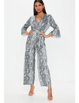 Grey Satin Snakeprint Kimono Sleeve Jumpsuit by Missguided