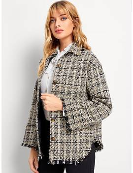 Raw Hem Tweed Coat by Sheinside