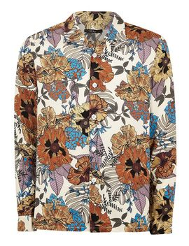 Stone Floral Revere Long Sleeve Shirt by Topman