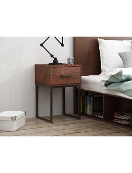 Mainstays Metal And Wood Nightstand With 1 Drawer In Reclaimed Cherry Finish by Mainstays