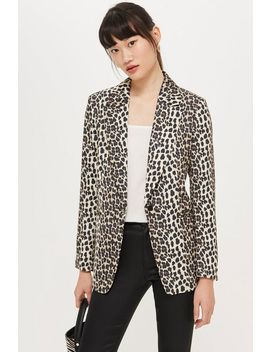 Brown Leopard Print Suit Jacket by Topshop