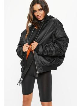 Fanny Lyckman X Missguided Black Jersey Hooded Ruched Sleeve Bomber Jacket by Missguided