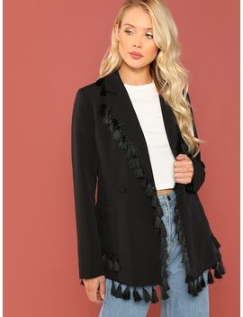 Pocket Side Tassel Trim Blazer by Shein