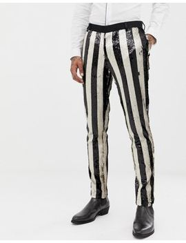 Asos Edition Skinny Tuxedo Suit Pants In Black And Cream Sequin Stripe by Asos Edition