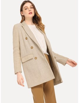 Button Front Notched Neck Blazer by Shein