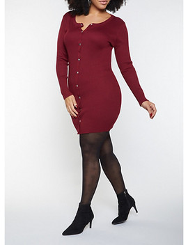 Plus Size Button Front Sweater Dress by Rainbow
