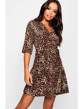 Leopard Woven Tea Dress by Boohoo