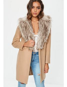 Camel Faux Fur Collar Short Formal Coat by Missguided