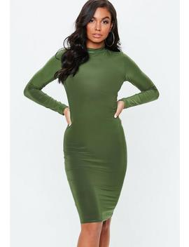 Khaki Long Sleeve Slinky High Neck Midi Dress by Missguided