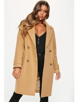 Camel Double Breasted Cocoon Coat by Missguided