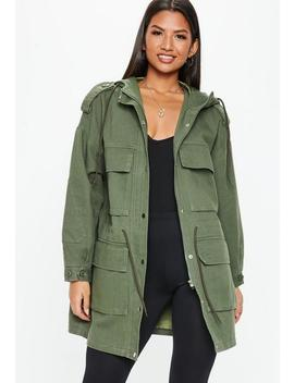 Khaki Oversized Utility Jacket by Missguided