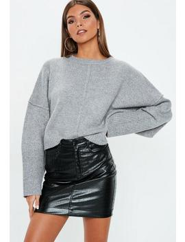 Grey Wide Sleeve Oversized Sweater by Missguided