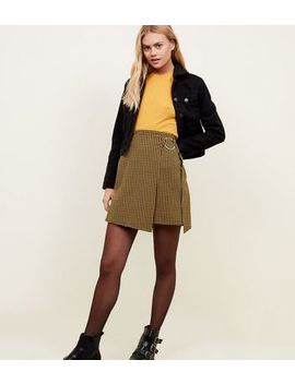 Mustard Houndstooth Ring Wrap Skirt by New Look