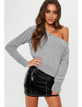 Grey Chenille Off Shoulder Knitted Jumper by Missguided