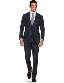 La Spalla Navy Stripe Suit by Suitsupply