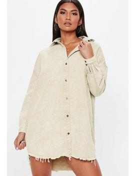 Cream Oversized Denim Shirt Dress by Missguided
