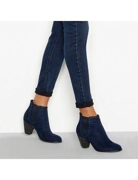 Nine By Savannah Miller   Blue Faux Suede Mid Block Heel Chelsea Boots by Nine By Savannah Miller