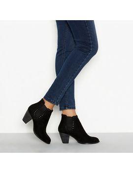 Nine By Savannah Miller   Black Faux Suede Mid Block Heel Chelsea Boots by Nine By Savannah Miller