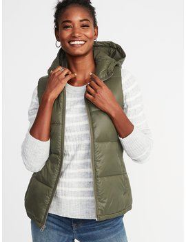 Frost Free Hooded Nylon Vest For Women by Old Navy