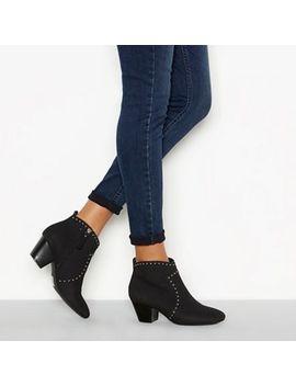 Mantaray   Black 'monie' Studded Block Heel Ankle Boots by Mantaray