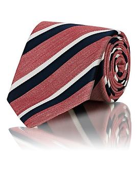 Striped Silk Linen Necktie by Bigi