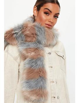 Grey Faux Fur Striped Scarf by Missguided