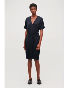 V Neck Dress With Belt by Cos