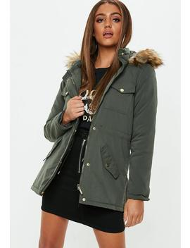 Khaki Fur Trim Peached Parka by Missguided
