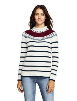 Women's Stripe Lofty Roll Neck Sweater by Lands' End