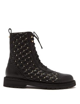 Rockstud Spike Quilted Leather Ankle Boots by Valentino