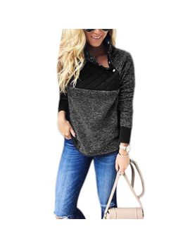Button Oblique Patchwork Fleece Sherpa Hoodie Long Sleeve Turtle Neck Sweatshirt by Ebay Seller