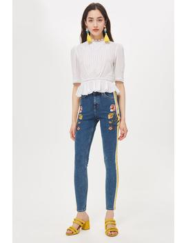 Mid Blue Embroidered Side Stripe Jamie Jeans by Topshop
