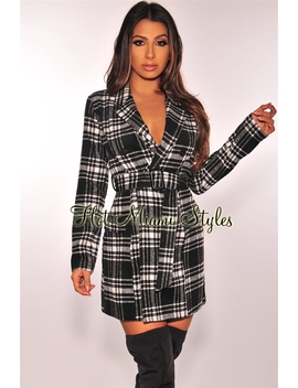Black Plaid Fleece Belted Coat Dress by Hot Miami Style