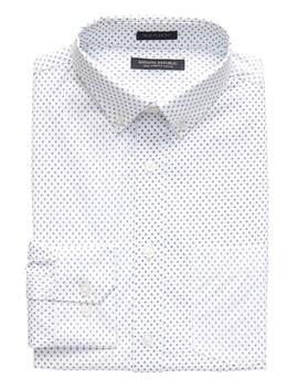 New Slim Fit Tech Stretch Cotton Cross Print Shirt by Banana Repbulic