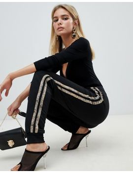 Pretty Little Thing Snake Side Stripe Joggers In Black by Pretty Little Thing