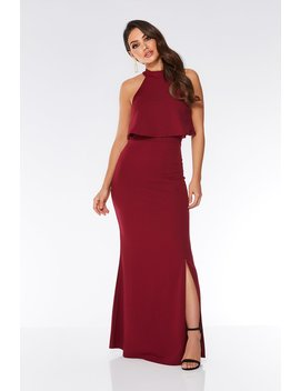 Berry Layered Split Front Maxi Dress by Quiz