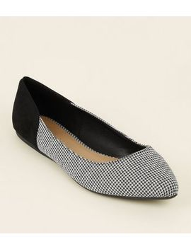Wide Fit White Suedette Houndstooth Pointed Pumps by New Look