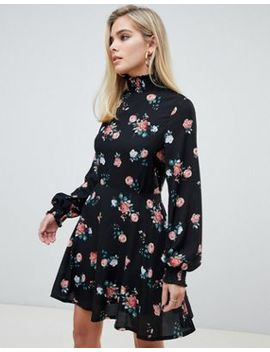 Pretty Little T Hing High Neck Skater Dress In Floral by Pretty Little Thing
