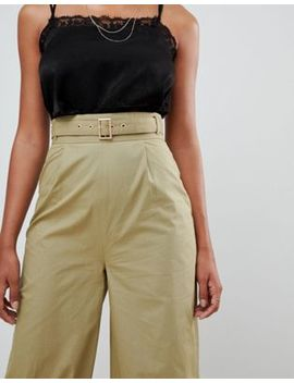 Pretty Little Thing Belted Waist Wide Leg Trousers In Green by Pretty Little Thing