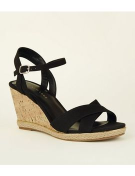 Wide Fit Black Suedette Cross Strap Cork Wedges by New Look
