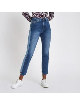 Mid Blue Bella Straight Leg Panel Jeans by River Island