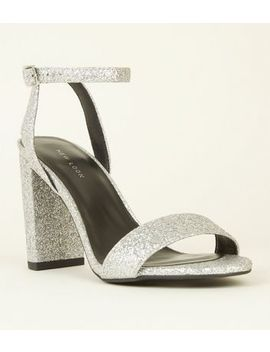 Silver Glitter Barely There Block Heels by New Look