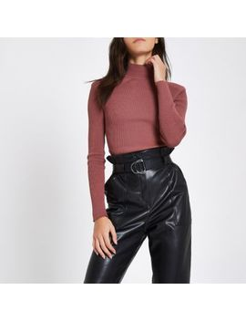 Dark Pink Ribbed Shoulder Roll Neck Top by River Island
