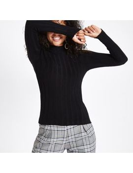 Black Knit Ribbed High Neck Top by River Island