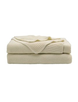"Piccocasa 100 Percents Cotton Knit Throw Blanket,Solid Decorative Throws,Soft Beige Knitted Throw Blankets For Sofa Couch,50"" X 60"" by Piccocasa"
