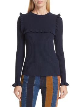 Ruffle Yoke Wool Blend Sweater by See By ChloÉ