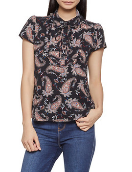 Paisley Print Tie Neck Blouse by Rainbow